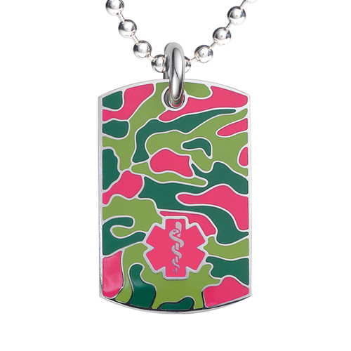 """Camo Red  Medical Alert Necklace, Emergency Medical ID Necklace, Medical Dog Tag- 24/28"""" - Style and Color"""