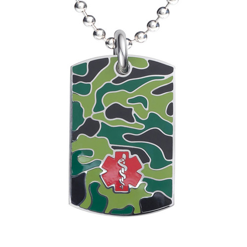 "Camo Black Medical Alert Necklace, Emergency Medical ID Necklace, Medical Dog Tag- 24/28"" - Style and Color"