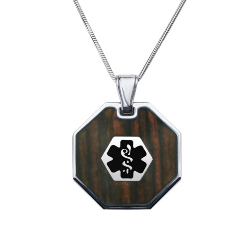 """Luxe Custom Engraved Medical Alert Necklace with Dark Wood Inlay Medical Necklace, 24/28"""" Stainless Steel Chain -Style and Color"""
