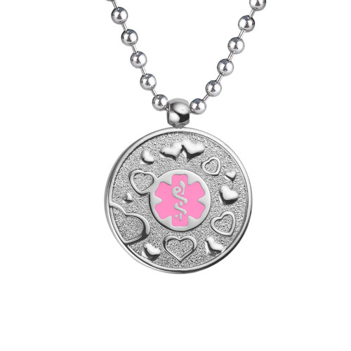 "Amore Custom Engraved Medical Alert Necklace, Emergency Medical ID Necklace, 24/28"" Stainless Steel Chain -Style and Color"