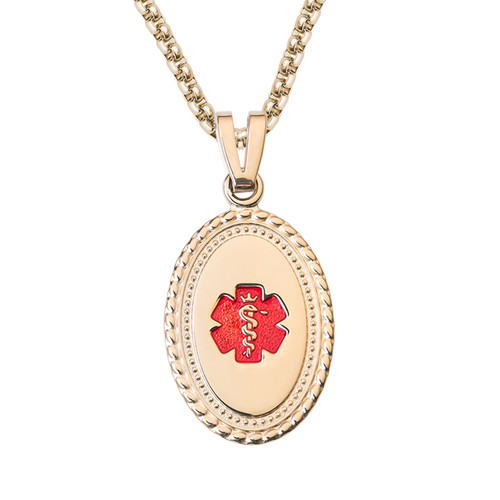 """Premier PVD Gold / Rose Gold  Custom Engraved Medical Alert Necklace with PVD Coated 24/28"""" Stainless Steel Chain -Style and Color"""