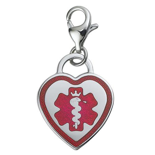 Premier Heart Enameld Custom Engraved Medical Alert Charm, Medical ID w/Lobster Clasp - Style
