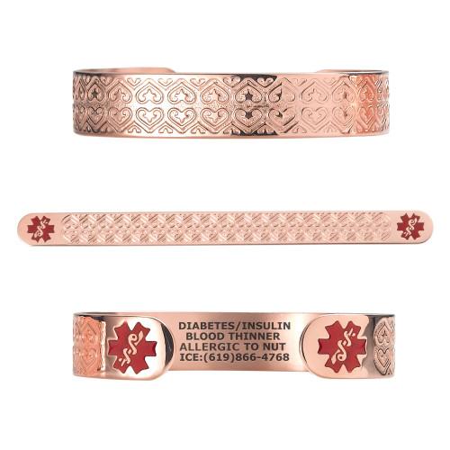"""Valentine Heart PVD Rose Gold/Gold Custom Engraved Medical Alert Bracelets, Adjustable Medical ID Cuff (fits 6.5-8.0"""") - Color"""