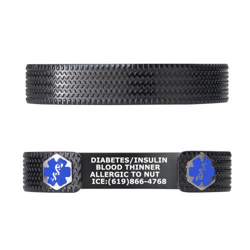 """Racer PVD Black Custom Engraved Medical Alert Bracelets, Adjustable Medical ID Cuff (fits 6.5-8.0"""") - Color"""