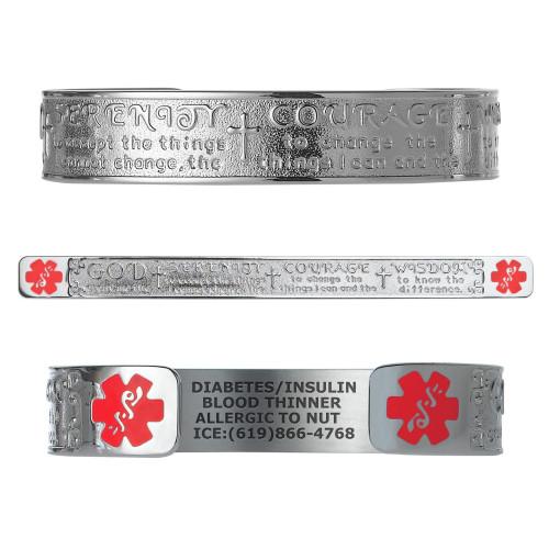 "Faith Custom Engraved Medical Alert Bracelets, Adjustable Medical ID Cuff (fits 6.5-8.0"") - Various Colors"