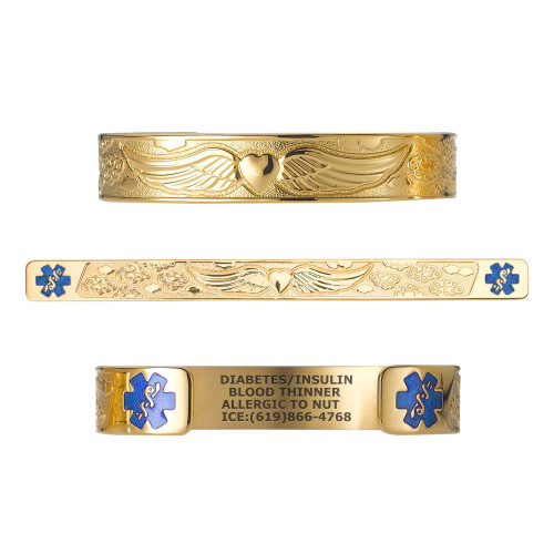 """Angel Wing PVD Rose Gold/Gold Custom Engraved Medical Alert Bracelets, Adjustable Medical ID Cuff (fits 6.5-8.0"""") - Color"""