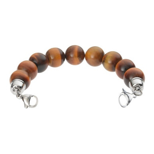 Tiger Eye Bead Chain for Interchangeable Medical Alert ID Bracelet - Size