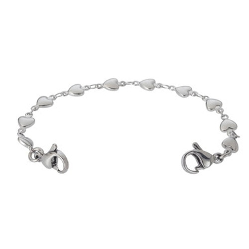 Heart Link Chain for Interchangeable Medical Alert ID Bracelet - Various Sizes