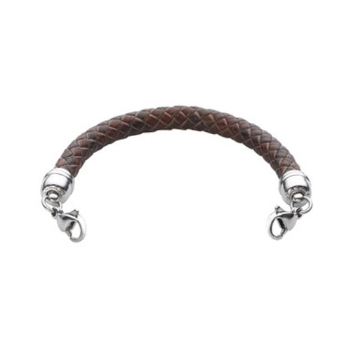 Braided Genuine Leather Cord for Interchangeable Medical Alert ID Bracelet - Size