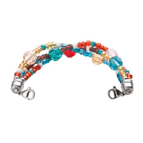 Tri-Strand Crystal Blue Bead Chain for Interchangeable Medical Alert ID Bracelet - Size