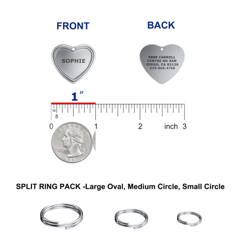 """HEART 1-1/8""""x1-1/8"""" Deep Custom Laser Engraved Pet ID Tags, Personalized Dog Tags for Dogs, Cats, Pets - Color"""