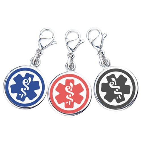 """Mix N Match 3/8"""" (10mm) 316L Double-sided Medical Alert Charms-3 Pack -Blue, Black & Red"""