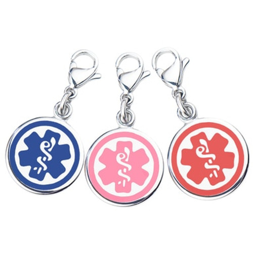 """Mix N Match 3/8"""" (10mm) 316L Double-Sided Medical Alert Charms-3 Pack- Blue, Pink & Red"""