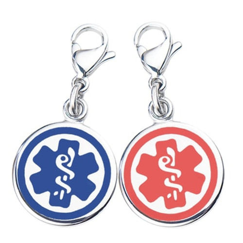 """Mix N Match 9/16"""" (14.2mm) 316L Stainless Medical ID Charms-Blue & Red - Pre-Engraved Diabetes"""