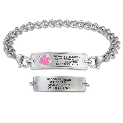 Divoti Custom Engraved Textured Curb Medical Alert Bracelet - Rect Classic Tag