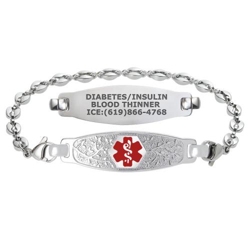 Divoti Custom Engraved Anchor Link Medical Alert Bracelet - Olive Tag