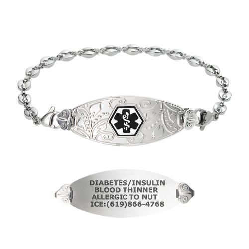 Divoti Custom Engraved Anchor Medical Alert Bracelet - Filigree Tag