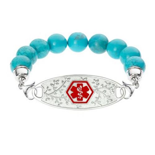 Divoti Custom Engraved Blue Turquoise Beadd Medical Alert Bracelet-Olive Tag