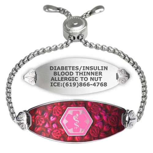 Blooming Cherry Blossom Custom Engraved Medical Alert Bracelets with Easy-On Chain, Emergency Medical ID Bracelets - Color and Size