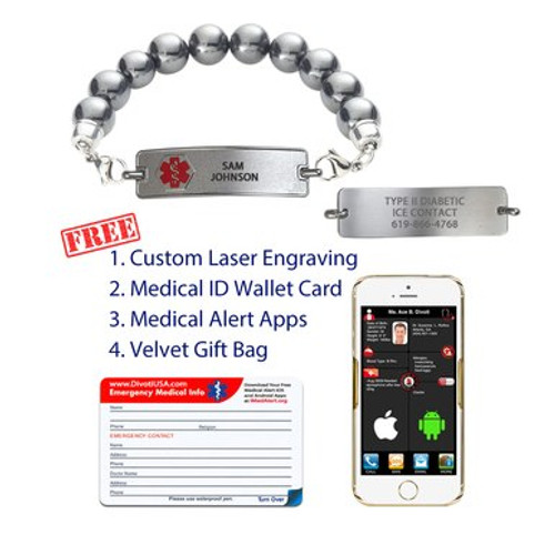 Medical Alert App and wallet card for Magnetic Hematite with Rect Tag