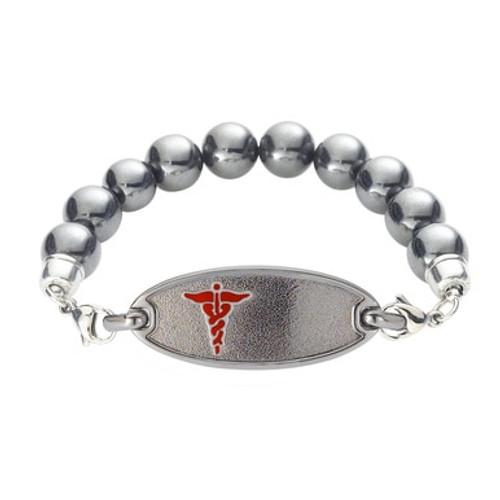 Divoti Custom Engraved Magnetic Hematite  Medical Alert Bracelet - Dainty Tag