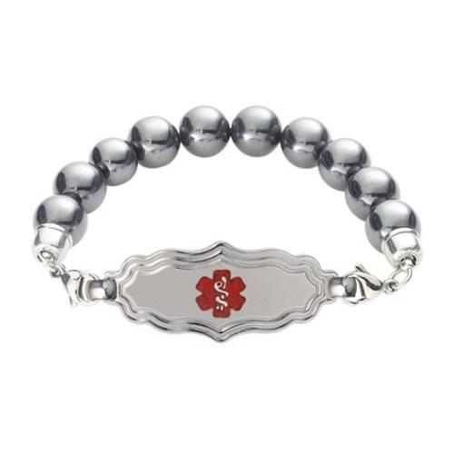 Divoti Custom Engraved Magnetic Hematite  Medical Alert Bracelet - Victorian Tag