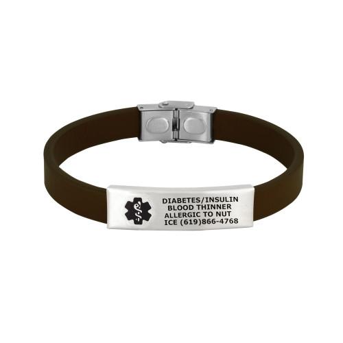 Sleek Custom Engraved Medical Alert Bracelets with Adjustable Leather Band, Fit up to 8.5-inch Wrists - Band Color and Emblem Color