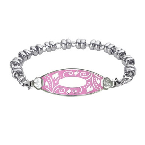 Divoti Custom Engraved Wrapped Link Personalized Bracelets  -Lovely Filigree Tag