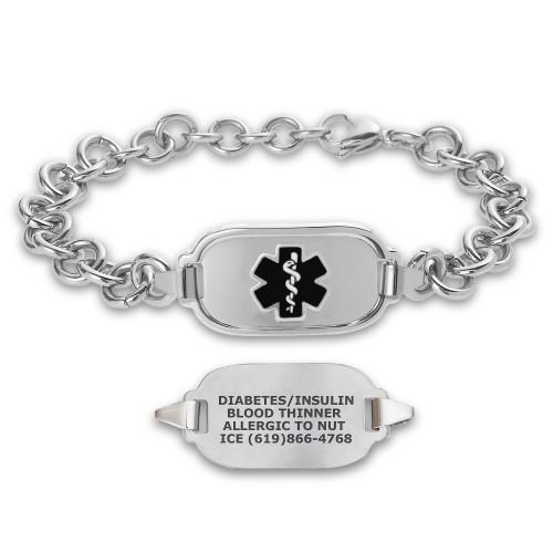 Titan Elite Pure Titanium Large Custom Engraved Medical Alert Bracelets with 10-inch Link Chain - Various Colors