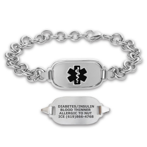 Divoti Titan Elite Pure Titanium Large Custom Engraved Medical Alert Bracelet