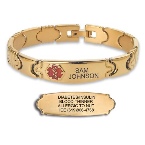 Elegante Gold Custom Engraved Medical Alert Bracelets with Solid Links, TP Red - Size