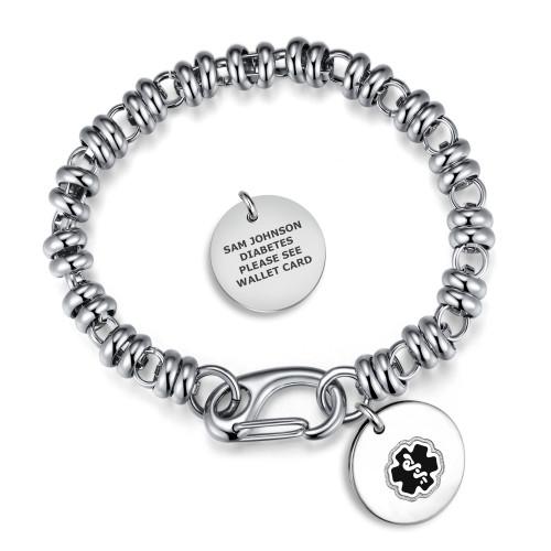 Divoti Custom Engraved Filigree Link Medical Alert Bracelet