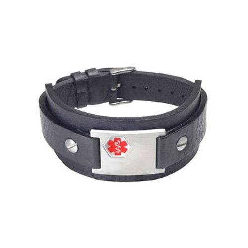 "Rebel Black Genuine Leather Cuff Custom Engraved Medical Alert Bracelets, Adjustable  (Fits up to 8"" wrists) - Various Colors"