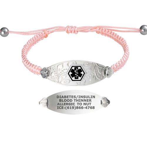 Divoti Custom Engraved Macrame Band Medical Alert Bracelet - Filigree Tag