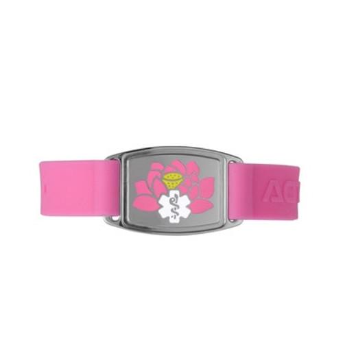 Sport Silicone Lotus Custom Engraved Medical Alert Bracelet Bands,  1.5-inch Tags -Emblem Color