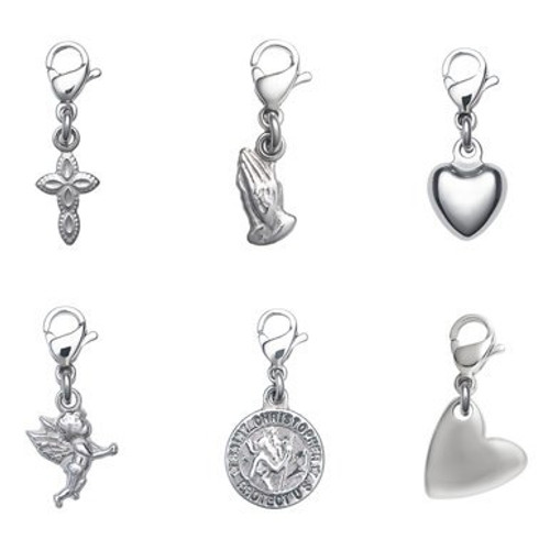 Dainty Inspirational/Religious Charms w/Clip-on Lobster Claw Clasps - Style