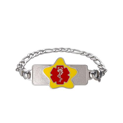 Divoti Custom Engraved Figaro Medical Alert Bracelet - Super Star Tag