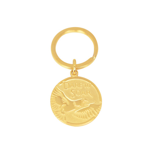Flying Eagle Pre-Engraved Gold Keychain/Key Holder -Isaiah 40:31