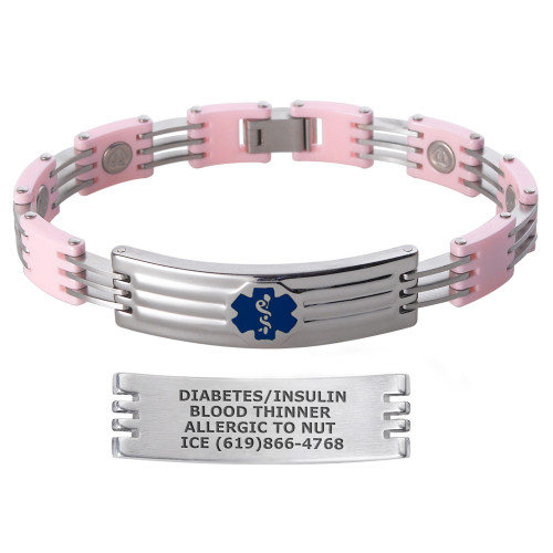 Color Block Magnetic Custom Engraved Medical Alert Bracelets with Ceramic Links - Color and Size