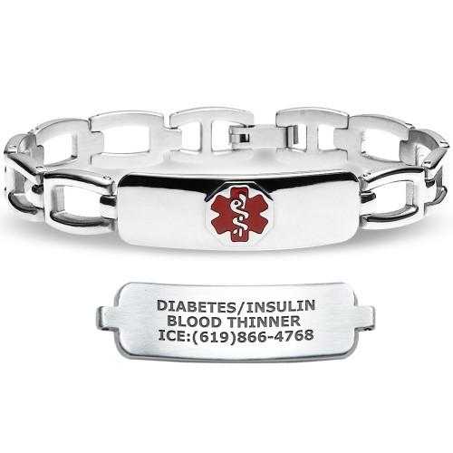 Divoti Custom Engraved Solid Links Medical Alert Bracelet - Arc-Link Tag
