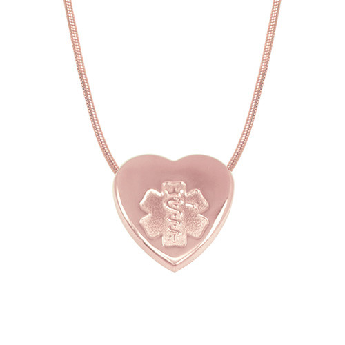 Puffed Heart Tag Medical Alert Necklace, Emergency Medical ID Necklace - Color