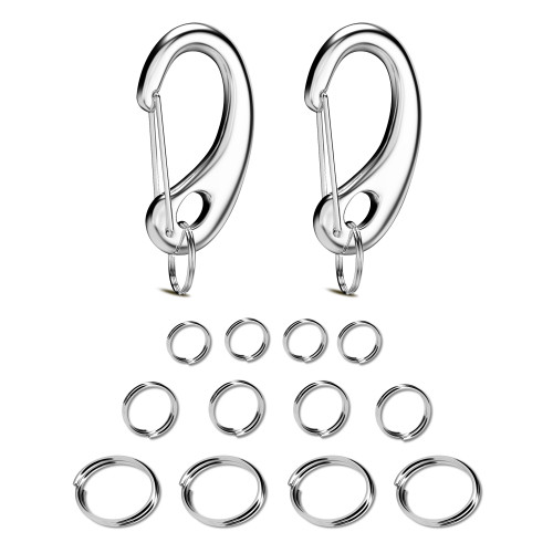 Pet ID Tag Quick Clip/Split-Load Hook Combo for Pet ID Tags - Standard/Medium/Large  - Entirely surgical Stainless Steel - Ring Pack