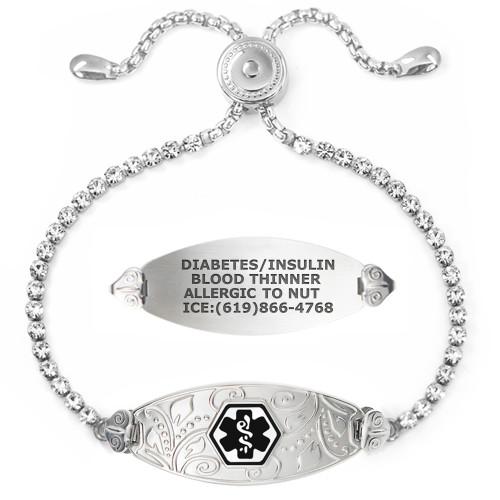Divoti Custom Engraved Bling Bling Crystal Medical Alert Bracelet - Filigree Tag