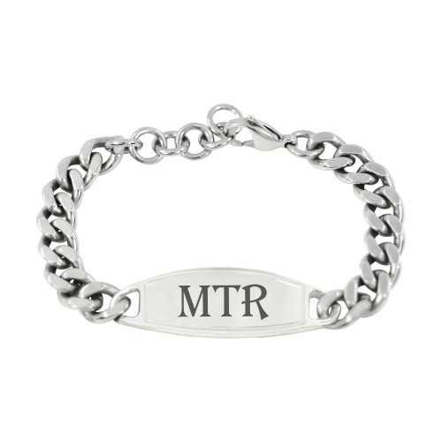 Custom Engraved Adjustable Bracelet Gifts for Men with Large Curb Chain and Lobster Clasp - Color