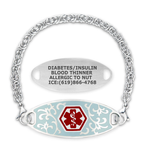 Jardin Custom Engraved Medical Alert Bracelets with Handmade Byzantine Chain, Emergency Medical ID Bracelets - Various Sizes and Colors
