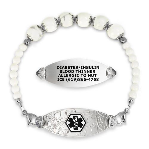Divoti Custom Engraved Gem Beaded Medical Alert Bracelet - Lovely Filigree Tag