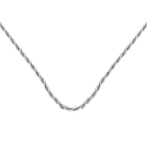 2.0mm Twist Rope Necklace Chain for Medical Alert ID Neclaces, Size