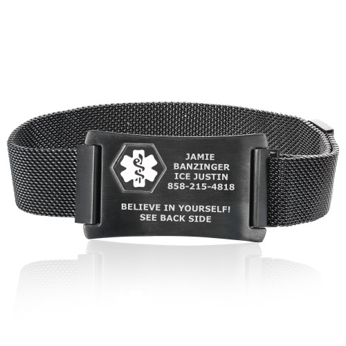 Divoti Custom Engraved Mesh Loop Medical ID Bracelets with Magnetic Closure