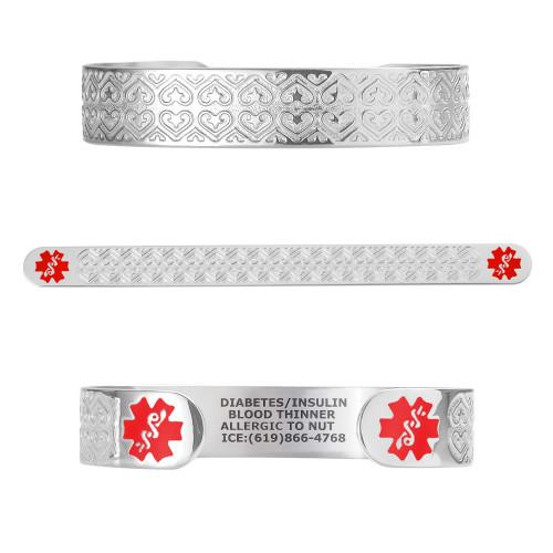 """Valentine Heart Custom Engraved Medical Alert Bracelets, Adjustable Medical ID Cuff (fits 6.5-8.0"""") - Color"""