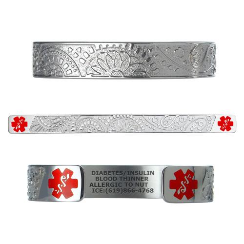 """Fancy Paisley Custom Engraved Medical Alert Bracelets, Adjustable Medical ID Cuff (fits 6.5-8.0"""") - Color"""